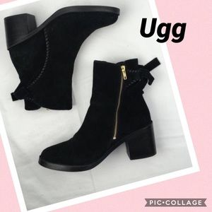 Ugg Black Suede Fraise Ankle Booties Size 12